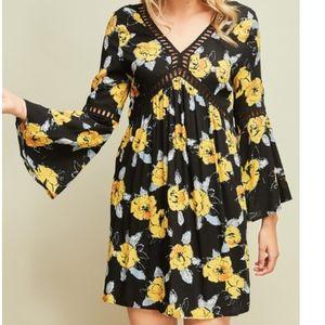 Mia Floral Babydoll Bell Sleeve Tunic Dress
